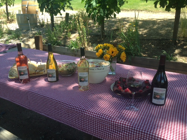 Picnic spread at Still Waters Vineyards - Paso Robles