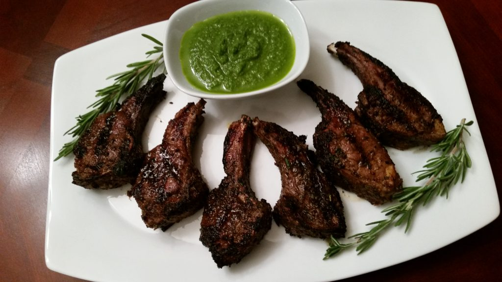 lamb chops with chimichurri sauce
