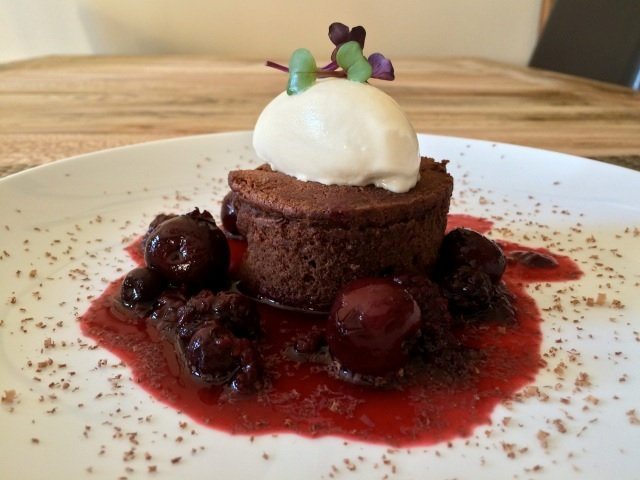 Flourless Chocolate Cake with Petite Sirah Sauce - Paso Robles, California