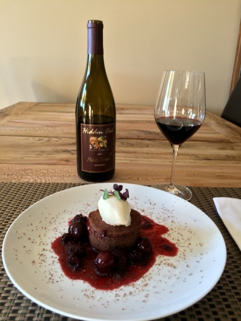 Hidden Oak Winery Petite Sirah with Flourless Chocolate Cake-Paso Robles, California