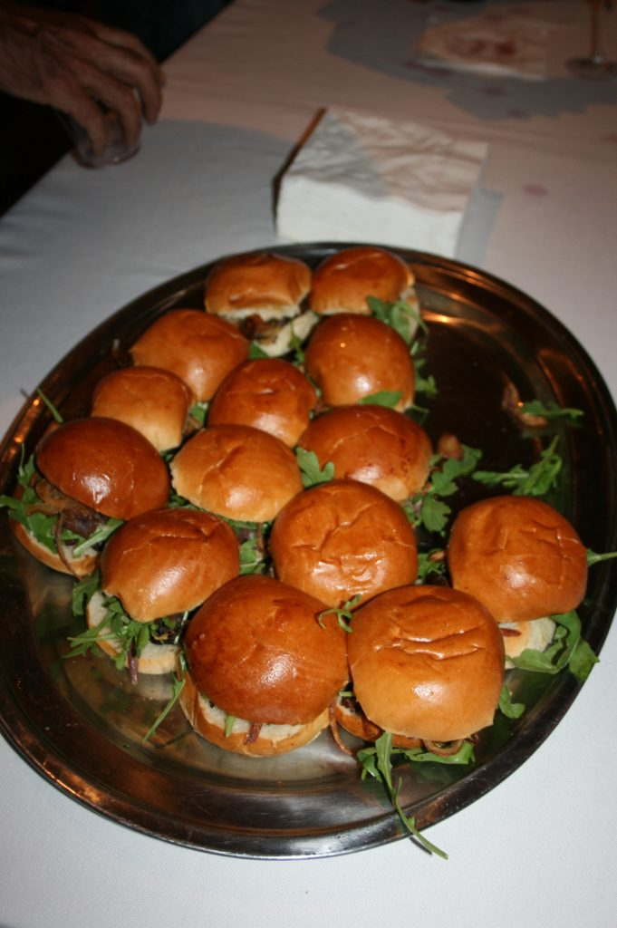 Sliders at the Cass Winery table during VIP tasting event