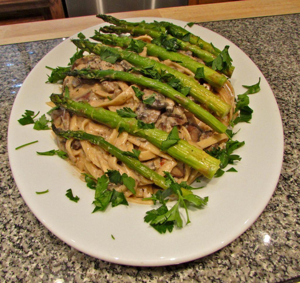 Mushroom Fettuccine with Asparagus - Paso Robles