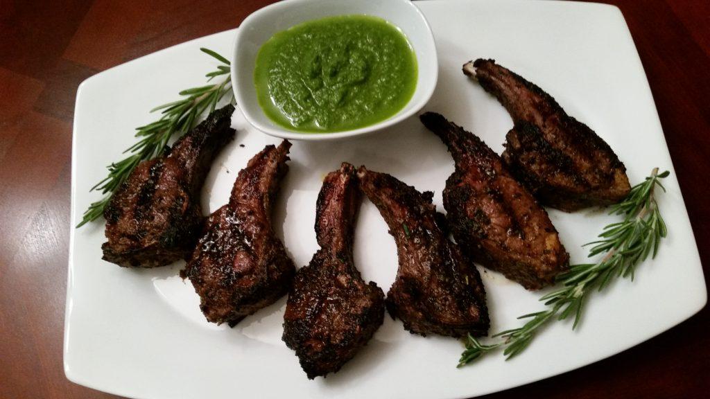 lamb chops with chimichurri sauce