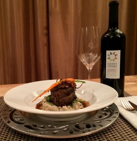 Penman Springs Vineyard wine with filet mignon
